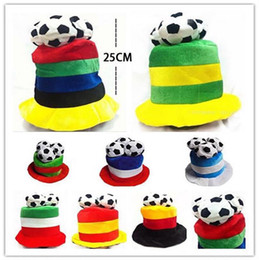Wholesale Nationals Hats - Football World Cup Plush Hat Soccer Ball Russia Italy National Flag Hat Cheerleading Team Props Headwear OOA4833