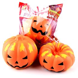 Wholesale Mobile Ornaments - Slow Rising PU Smiling Face Halloween Pumpkins Squishy Charm Mobile Phone Strap Key Chain Bag Ornaments Kids Toys