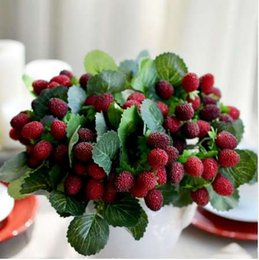 Plantas de fresa artificial online-Plástico Artificial Flor Fruit Paddle Strawberry Photo Props Planta Artificial Paddle Mulberry For Party Party Flor Decorativa