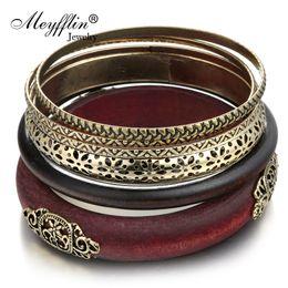 Wholesale wholesale wood bangles - whole saleNew Design 2017 Fashion Jewelry Vintage Retro Wood Alloy Multilayer Charming Bracelets Bangles Women Men Jewelry