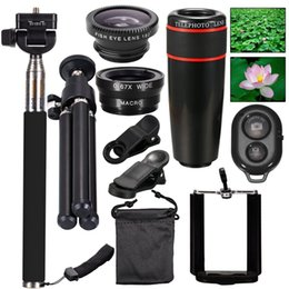Wholesale Fishing Control - New 10in1Mini phone Lens Kit 12x Telephoto Lens+Fish Eye Lens+Wide Angle+Macro Lens Selfie Stick Monopod+Remote Control+Tripod with Case