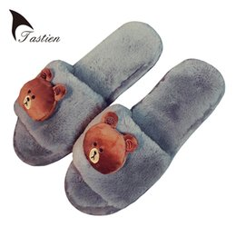 Wholesale fluffy animal slippers - TASTIEN Funny Women Plush Fluffy Slippers 2017 Indoor Flock Animal Shoes House Cute Cartoon Woman Slippers Shoes House Slipper