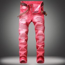 2019 джинсы для стирки New Mens Ripped Jeans High Fashion 5 Colors Washed Broken Jeans Street Style Motorbike Skinny Denim Pants дешево джинсы для стирки