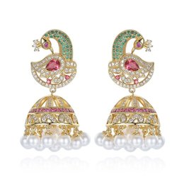 Wholesale Phoenix Color - Europe and the United States new Phoenix earrings color zircon earrings noble dazzling fashion earrings factory direct gift personality