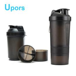 Drinking plastic bottles bpa free online-Hochwertige Whey Protein Shaker Flasche Plastikgetränk Fitness Sport Mixer Wasserflasche BPA Free Shaker 500ML