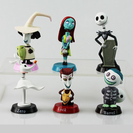 Juguetes de colección online-6 Unids / set Pesadilla de Dibujos Animados Antes de Navidad Lock Sally Zero Barrel Shock Jack PVC Figuras de Acción de Juguete Muñecas Modelo Coleccionable DDA689