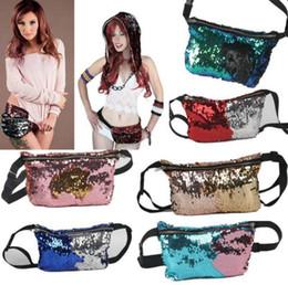 Wholesale Waist Sequin Belts - Women Mermaid Sequins Glitter Waist Bag Travel Pack Glitter Fanny Pack Belt Bag Hip Purse 11 Styles 100pcs OOA3852