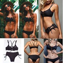 Wholesale girls bodysuits - Black Hollow Out Bandage Bikini Women Braided Rope Hollow Swimsuits Bodysuits Romper 2 Pieces Bikini Swimwear AAA346