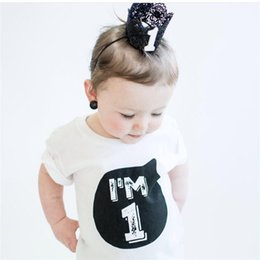 Wholesale Party Clothes For Boys - New Born Baby Boys T-shirts Little Girl Toddler White Black Tees For Kids Clothes Summer 1st 2nd Year Birthday Party Shirts Tops