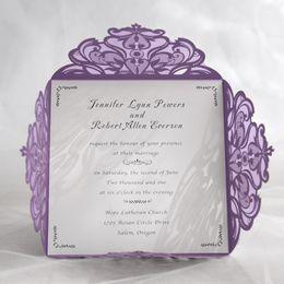 Wholesale blank postcards - 10 Set Design Purple Laser Cut Wedding Invitations Print Paper Blank Invitation Cards birthday Postcard 16*16Cm Convite Seal