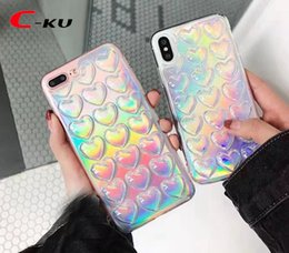 Wholesale Iphone Glitter Sticker Skins - Bling Heart Soft TPU Back Case For IPhone X 8 7 Plus I7 6 6S I6 5 5S SE Love Laser Sticker Luxury Glitter Colorful Cell Phone Skin Cover