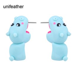 Wholesale Wholesale Polymer Clay Earrings - Hot Sale Handmade Polymer Clay Blue Cute Hippo Stud Earrings For Women Fashion Animal Piercing Earring Jewelry Gift bijoux 9195