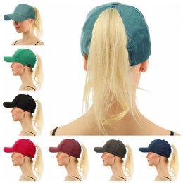 Wholesale hats jeans caps - CC Ponytail Hats CC Messy Bun Cap Horsetail Baseball Caps Sunshade Hats Jeans HipHop Street Cap Kids Caps OOA5100