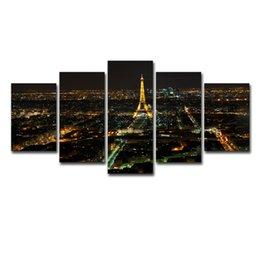 Construir torre eiffel online-Fotos de lienzo Arte de la pared Impresiones en HD Carteles de 5 piezas Torre Eiffel de París Edificio de la ciudad Nightscape Pinturas Decoración del hogar Marco