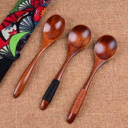 Wholesale Kitchen Utensils Bamboo - Wholesale Hot Selling Wooden Spoon Bamboo Kitchen Cooking Utensil Tool Soup Teaspoon Catering Flatware free shipping
