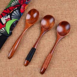 Venda quente por atacado colher de madeira de bambu cozinha utensílio de sopa de sopa colher de chá de talheres de catering frete grátis de