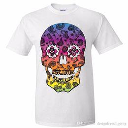 Zucker druck t-shirts online-Retro Paisley Print Sugar Skull Herren Oansatz Kurzes lustiges T-Shirt