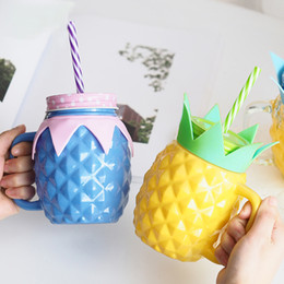 Wholesale Large Pineapple - JOUDOO Candy Color Pineapple Glass Bottle Child Eco-Friendly Straw Type Large Capacity Water Bottle With Handgrip Xmas Gifts