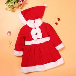 Robes de filles en Ligne-Costumes de Noël Bébé fille Vêtements d'hiver Tenues pour enfants Ensembles de chapeau Santa Fleece Girls Dress