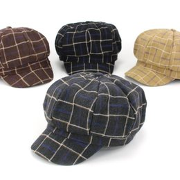 f69151d7f28 Unisex Baby Dome Plaid Octagonal Caps Kids Children Beret Boy Girl Autumn  Winter Warm Cap MZ5597