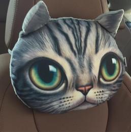 cuscini stampa tigre Sconti 3D Cat Tiger Stampa Animali Testa Car Seat Copre Poggiatesta Cuscino peluche Poggiatesta di sicurezza GA509