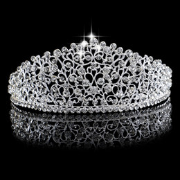 Wholesale Cm Birthday - Luxury Bridal Crown Sparkling Rhinestone Crystals Roayal Wedding Crowns Crystal Hair Accessories Birthday Party Tiaras Quinceaner 16*6 cm