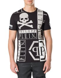 Wholesale skull bead crystals - Mens Cotton t-shirts German Brand Skull 3D Printed Crystal Beads T-Shirt Short Sleeved TShirts Black Male Slim Sport Tees M-3XL