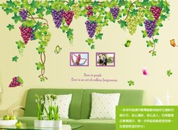 Wholesale Fruit Wall Decor - New Design Extra Large 2pcs set(A B) Fruit Grape Wall Sticker Romantic Tv bedroom living room Art Wall Decal Kids Room Decor