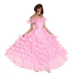 Wholesale French Maid Costumes - New Arrival Sissy Girl Off Shoulder Sissy French Maid Puffy Long Prom Pink Dress Crossdresser Uniform Cosplay Crossdressing