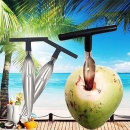 accesorios de coco Rebajas Abrelatas de coco en forma de T duradero acero inoxidable sin esfuerzo cocos cuchillo apertura herramientas accesorios envío gratuito QW8250