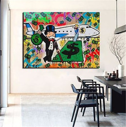 Wholesale Oil Painting Stretched Canvas Prints - Alec Monopoly Bansky Oil Painting on Canvas Graffiti art Decor Airplane 24X36inch Unframed No Stretch