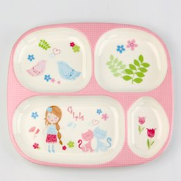 Wholesale Melamine Dinner - Hot Sale Melamine Baby Tableware Plate Children Creative Cartoon Baby Meal Tray Lovely Grid Dinner Plate Free Shipping