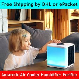2a Generación Enfriador de Aire Antártico 7 Colores Mini Aire Acondicionado LED Temporizador LCD Enfriador USB Ventilador Ventilador de Refrigeración de Aire Dubai Australia África Verano desde fabricantes