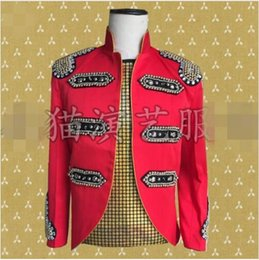 Casual Slim Rhinestones Rivets Men s Jacket Nightclub Host Outfit Men  Singer DJ Show Jacket Dance Outfit Magician Show Coat 0a35674a7ac3