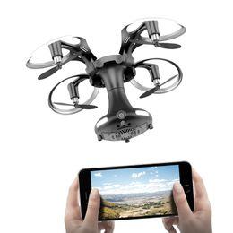 Mini sensor de luz online-2.4G WIFI 0.3MP cámara FPV RC en forma de bola Quadcopter MINI Pocket plegable APP Control Drone con control de sensor de gravedad LED luz RC Drones