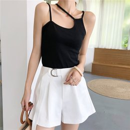 Wholesale camisole for girls - Summer Women's Slim Stretchy Asymmetric Camisole Tops Female Camis Sleeveless Solid T shirts Tank Tops for Girl