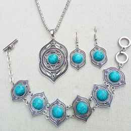 Wholesale Turquoise Necklace For Wedding - High quality blue green turquoise Ethnic style retro Jewelry Earring Necklace Bracelet suit for women