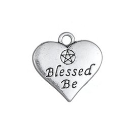blessed plate charms Promo Codes - 30PCS DIY Accessories Jewelry Retro Alloy Pendant Letters Heart Shaped Blessed Be Charm Dangle Jewelry