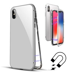 Wholesale iphone aluminum back cover - Built-in Magnet Case for iPhone X 8 7 Plus Clear Tempered Glass Back Cover Magnetic Aluminum Metal Adsorption Bumper Ultra-slim Full Cover