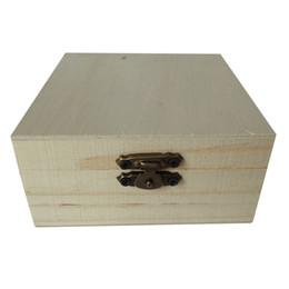 Joyas de juguete online-VENTA CALIENTE Unfinished caja de joya de madera para niños bricolaje artesanía carpintería juguetes arte cuadrado de madera de color