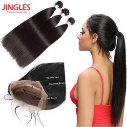 Jingles Vente en gros de paquets de cheveux indiens vierges avec frontal Raw frontale de cheveux humains indiens 360 Dentelle ? partir de fabricateur