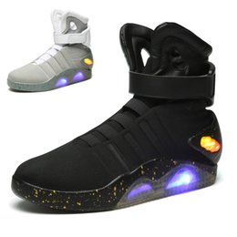 Wholesale black high heeled ankle boots - Air Mag High Quality Brand Basketball Shoes Limited Edition Back To The Future Soldier Shoes LED Luminous Light Up Men Fashion Led shoes