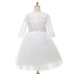 2019 vestidos de casamento de cinderela frisada Vestido de baile colorido lantejoulas criança pageant aniversário cinderela manga comprida até o chão vestidos da menina de flor do casamento do bebê de tule frisada arco vestidos de casamento de cinderela frisada barato