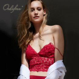 Wholesale Red Lace Camisole - Ordifree 2017 Summer Bra Spaghetti Strap Tank Tees Camisole Crochet Lace Bralette Ladies Vest Black White Red Sexy Lace Crop Top
