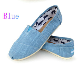 Повседневная обувь женщины классика том миссис мокасины холст бамбук совместное скольжения на квартиры обувь ленивый обувь размер 35-40 Бесплатная доставка синий от