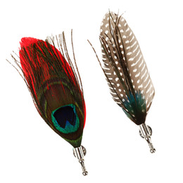 Wholesale feather corsages - Men Peacook Feather Brooches Brooches Pins Corsage Wedding Party Prom Decor