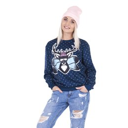 Ciervos de las muchachas top de la impresión online-Sudadera de las mujeres Freeride Deer Xmas 3D Full Print Girl Tamaño libre Elástico Casual Hoodies Lady Long Sleeves Tops Sudaderas (GL43438)