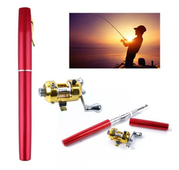 Canada Nouveau Stylo Poche Portable Télescopique Mini De Pêche Pole Stylo Forme Plié Canne À Pêche Avec Enrouleur Roue Engins De Pêche DDA185 cheap gear rods Offre
