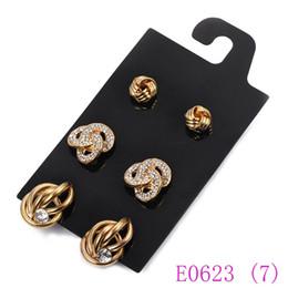 Wholesale double stud ring - 3 set Rhinestone Stud Earrings Gold Double Ring Geometric Ear Studs Women Jewelry Elegant ear stud E0623