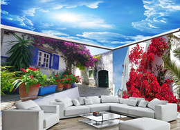 Wholesale Full House Wallpaper - European Ceiling Wallpaper Greece landscape illustration full house mural background wall painting